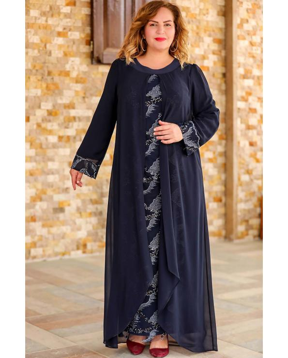 Women's Oversize Glitter Navy Blue Evening Dress
