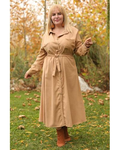 Women's Oversize Shirt Collar Beige Velvet Long Dress