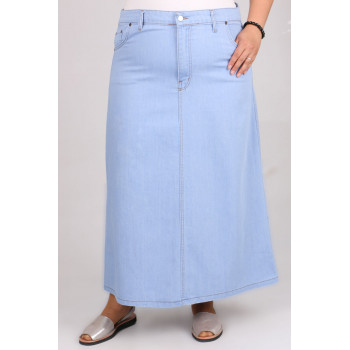 Women's Oversize Ice Blue Long Denim Skirt