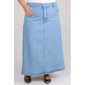 Women's Oversize Button Baby Blue Long Denim Skirt