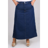 Women's Oversize Button Navy Blue Long Denim Skirt