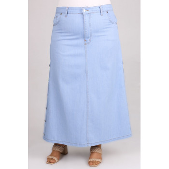 Women's Oversize Button Ice Blue Long Denim Skirt