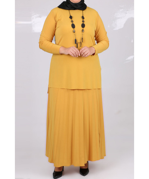 Women's Oversize Pleated Mustard Long Skirt& Blouse Set