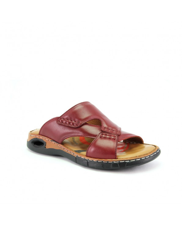Men's Claret Red Leather Slippers