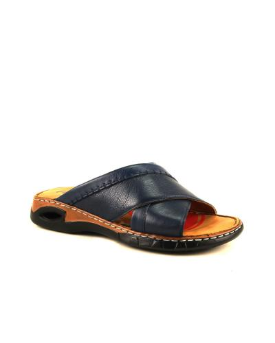 Men's Navy Blue Leather Slippers