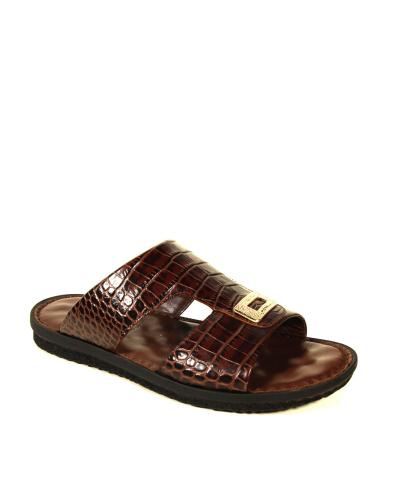 Men's Brown Crocodile Slippers