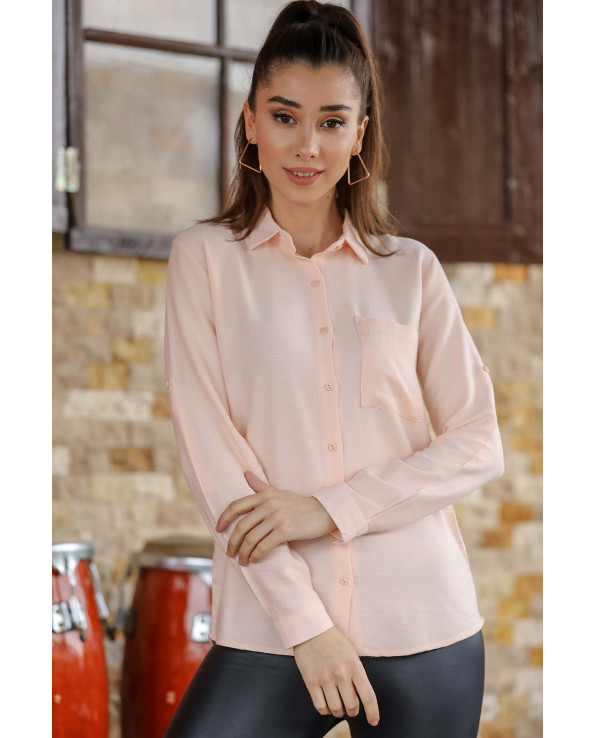 Women's Roll-up Sleeves Pocket Powder Rose Shirt