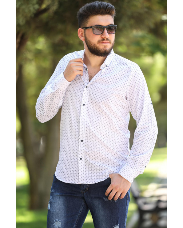 Oversize Roll-up Sleeves Patterned Shirt