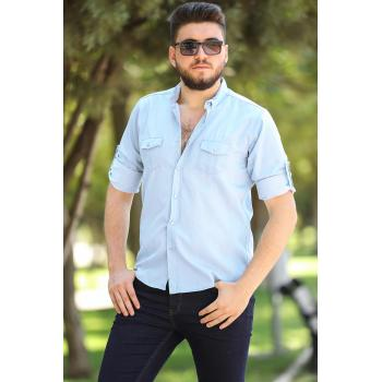 Oversize Roll-up Sleeves Ice Blue Shirt