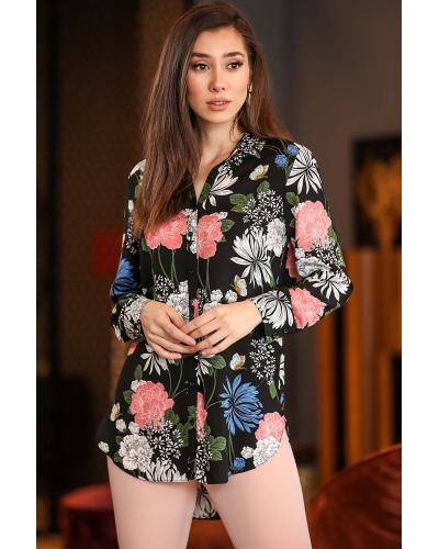 Women's Patterned Black Shirt