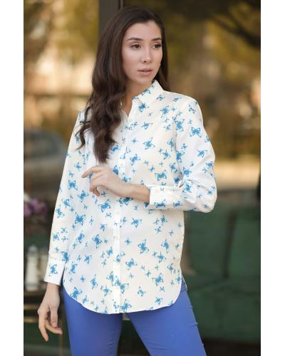 Women's Butterfly Pattern Blue Shirt