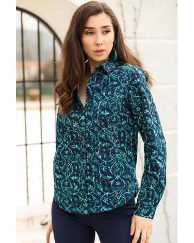 Women's Patterned Dark Navy Blue Shirt