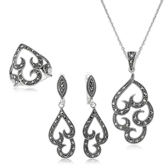 Women's Marcasite Gemmed Silver Necklace, Ring & Earrings Set