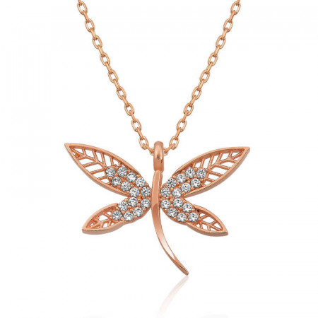 Women's Dragonfly Pendant Rose Gold Plated Silver Necklace