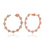 Women's Star Detail Rose Plated Silver Hoop Earrings