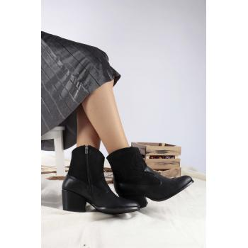 Women's Black Leather - Suede Boots