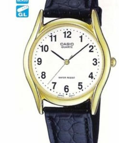 Men's Round Metal Case Navy Blue Leather Strap Watch