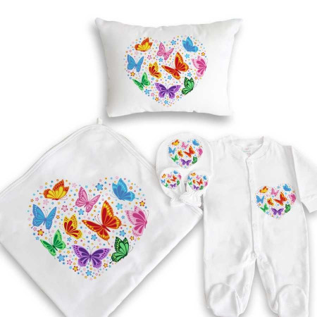 Baby Girl's Butterfly Print White Newborn Set