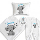 Baby's Printed White Newborn Set