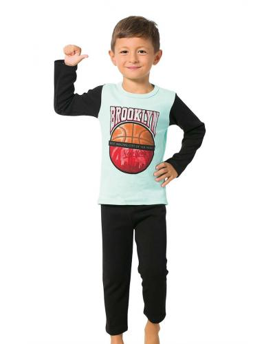 Boy's Long Sleeves Black Pajama Set