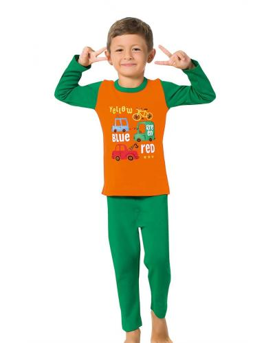 Boy's Long Sleeves Green Pajama Set