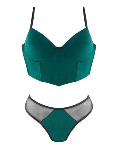 Women's Green Suede Push Up Bustier & Panty Set