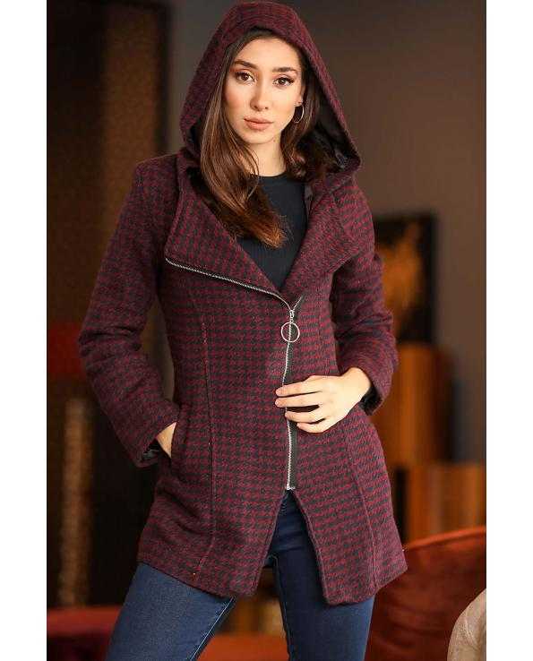 Women's Hooded Zipped Patterned Claret Red Coat