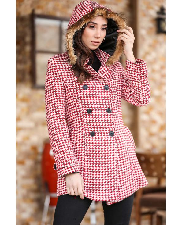 Women's Hooded Button Hound's Tooth Pattern Red Coat