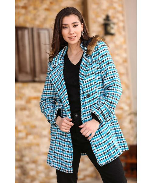 Women's Hooded Button Hound's Tooth Pattern Blue Coat