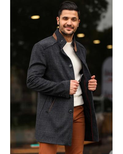 Men's Plaid Navy Blue Coat