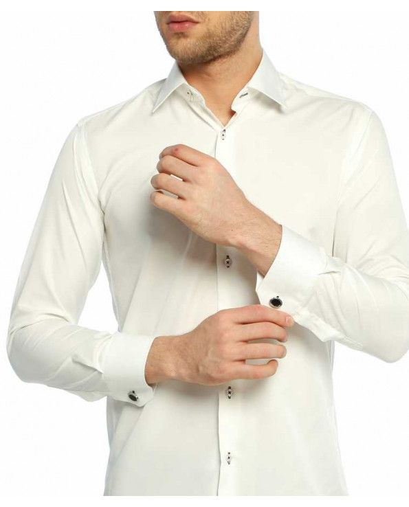 Men's Cufflinks Buttoned Plain Cream Micro fabric Slim Fit Shirt
