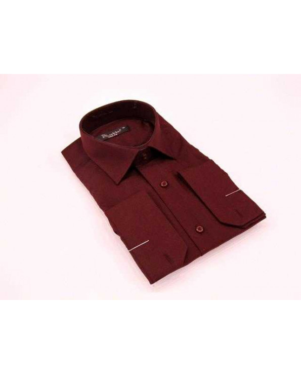 Men's Long Sleeves Plain Claret Red Slim Fit Shirt