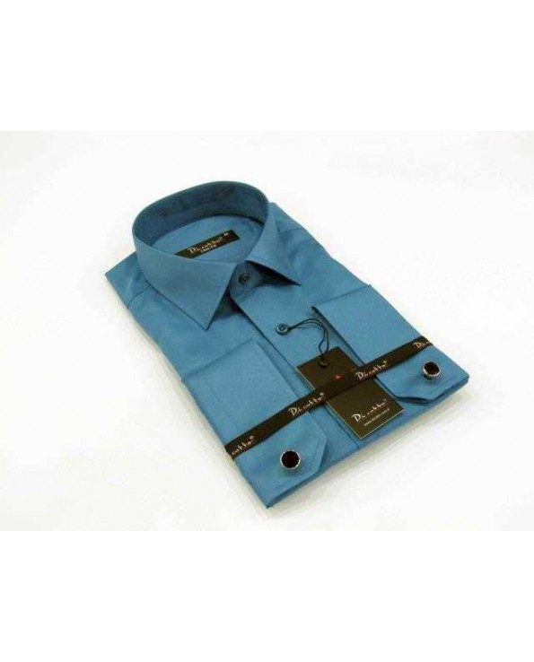 Cufflinks Buttoned Plain Turquoise Micro Fabric Slim Fit Shirt