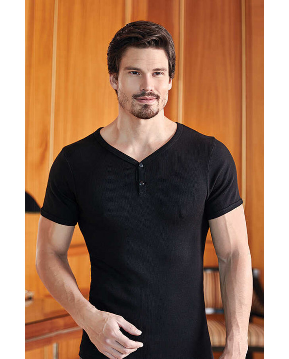 Men's V-neck Buttoned Black Camisole Sleeveless T-Shirt