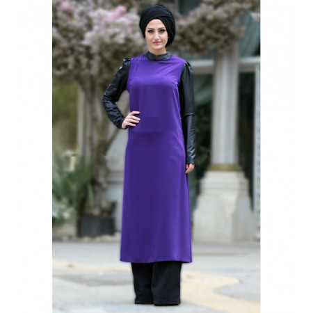 Women's Leather Sleeves Long Purple Tunic