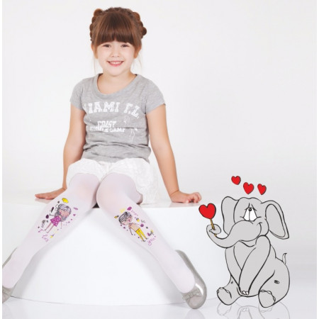 DAYMOD CARTOON PRINT PANTYHOSE - White