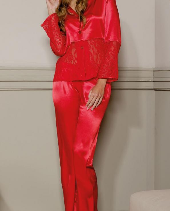 PIERRE CARDIN CROPPED PAJAMA - Red