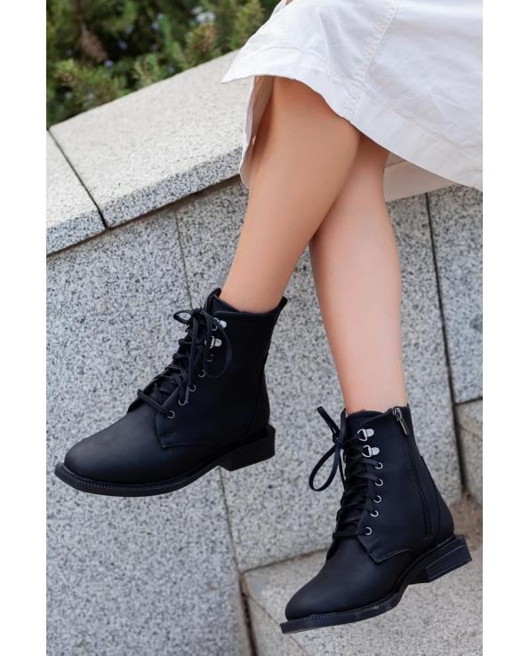 Women's Side Zipped Lace-up Black Boots