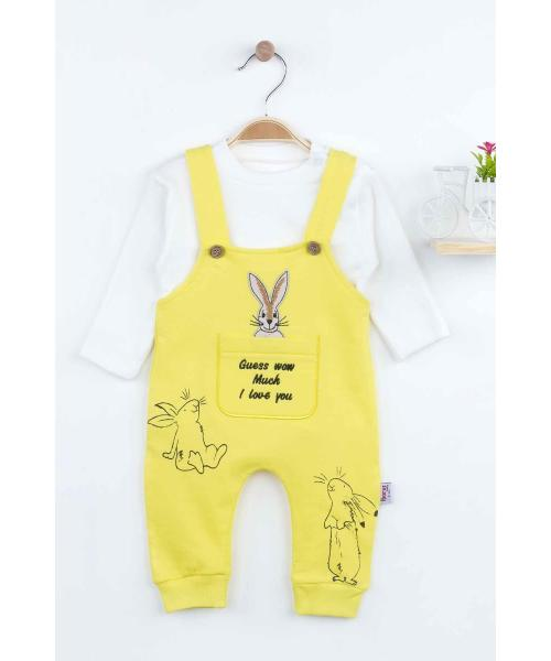 Baby Boy's Rabbit Pattern Yellow Romper & Blouse Set