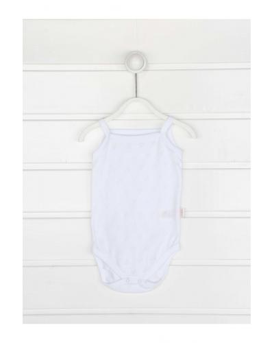 Baby Girl's Strappy White Snapsuit
