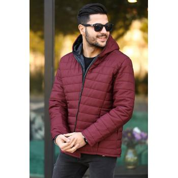 Men's Hooded Claret Red Coat