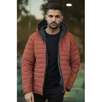 Men's Hooded Tile Red Coat