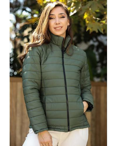 Women's Crew Neck Khaki Blown Coat