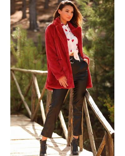 Women's Shawl Collar Red Polar Fleece Coat