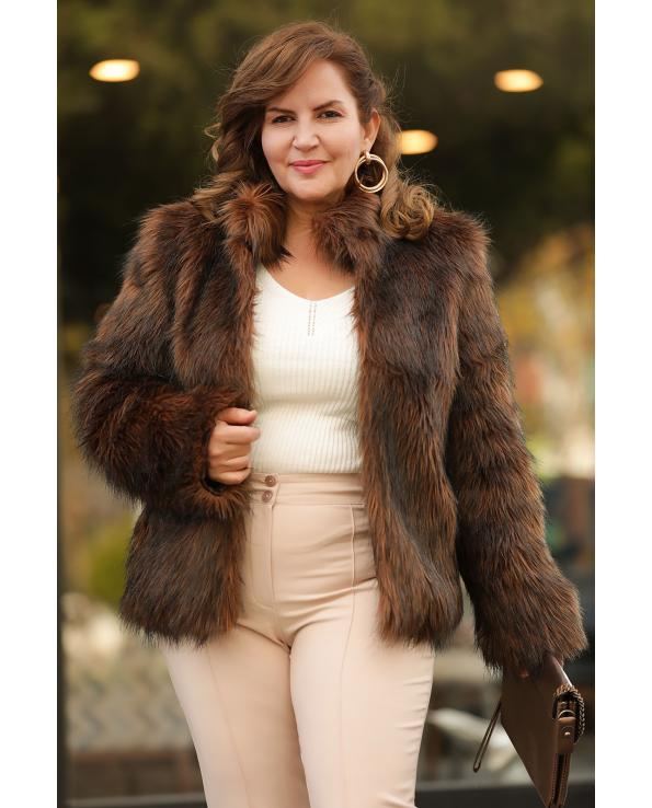 Women's Oversize Brown Fur Coat