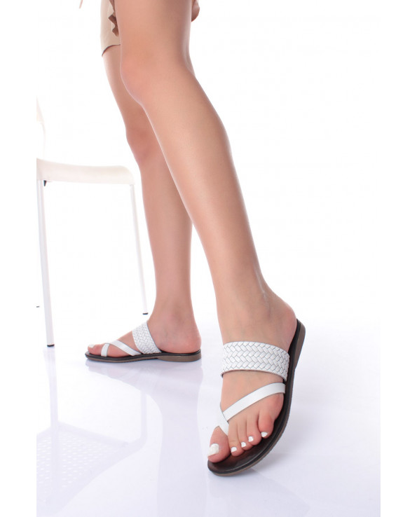 Women's White Leather Slippers