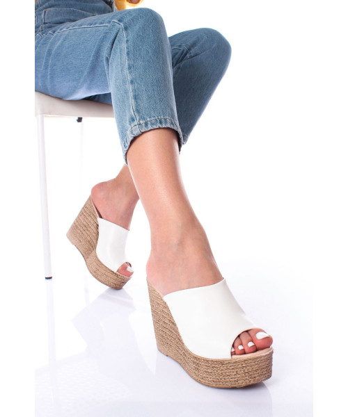 Women's White Wedge Slippers
