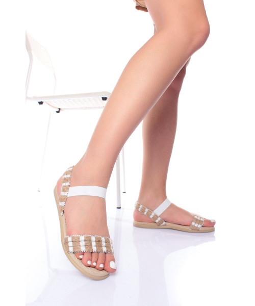 Women's White Straw Sandals