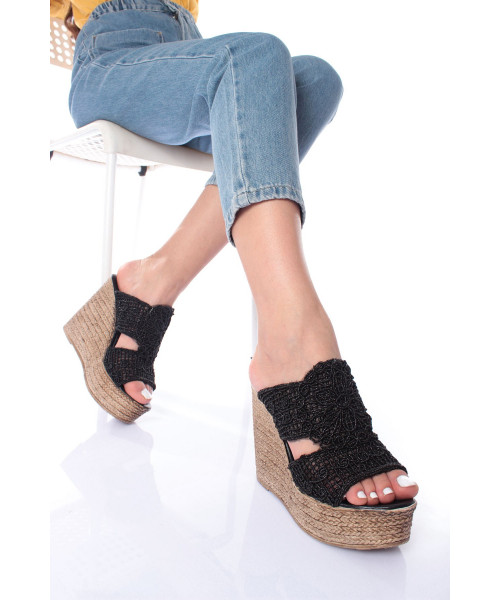 Women's Black Straw Wedge Slippers
