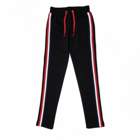 Girl's Side Stripe Black Sweatpants